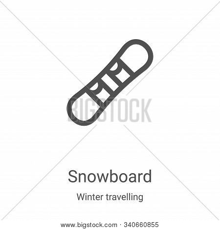 snowboard icon isolated on white background from winter travelling collection. snowboard icon trendy
