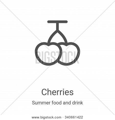 cherries icon isolated on white background from summer food and drink collection. cherries icon tren