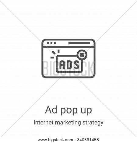ad pop up icon isolated on white background from internet marketing strategy collection. ad pop up i