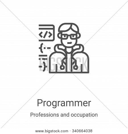 programmer icon isolated on white background from professions and occupation collection. programmer