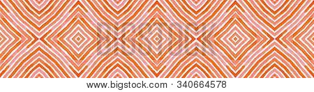 Pink Red Seamless Border Scroll. Geometric Watercolor Frame. Amazing Seamless Pattern. Medallion Rep