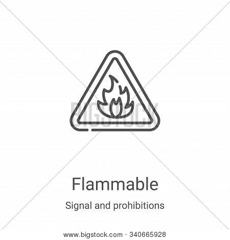 flammable icon isolated on white background from signal and prohibitions collection. flammable icon