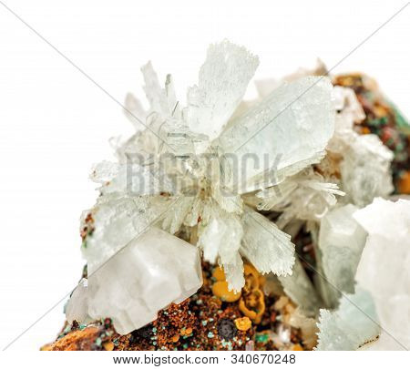 Beautiful Druse Of Transparent Crystals Of Hemimorphite On The Matrix Isolated On A White Background
