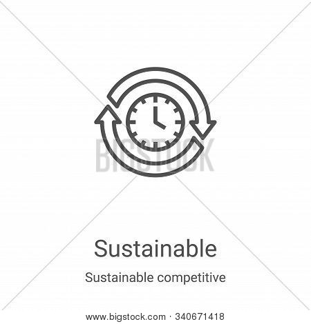 sustainable icon isolated on white background from sustainable competitive advantage collection. sus