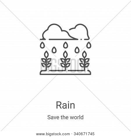 rain icon isolated on white background from save the world collection. rain icon trendy and modern r