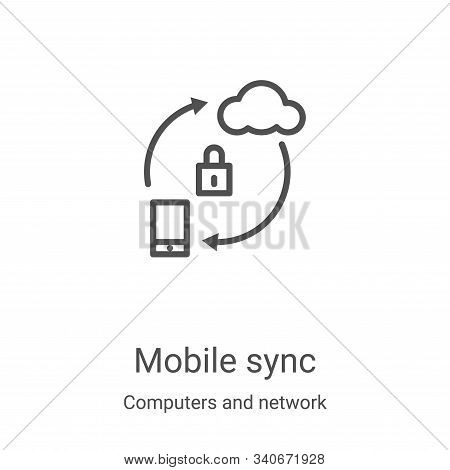 mobile sync icon isolated on white background from computers and network collection. mobile sync ico