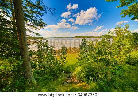Blue Sky Along Ocean Inlet On Mount Desert Narrows Near Acadia National Park, Maine, Usa