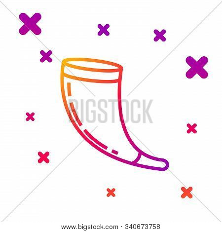 Color Line Traditional Ram Horn, Shofar Icon Isolated On White Background. Rosh Hashanah, Jewish New