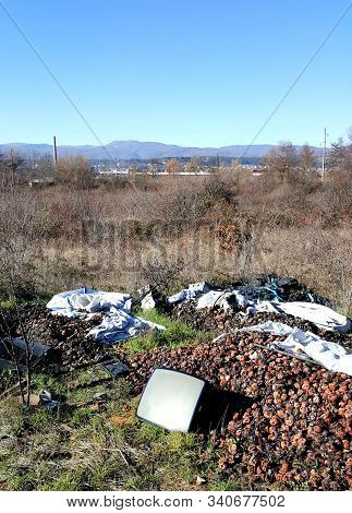 Environmental Pollution, Crt Tube, Rotten Apples And Plastic Garbage ,