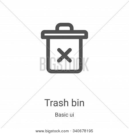 trash bin icon isolated on white background from basic ui collection. trash bin icon trendy and mode