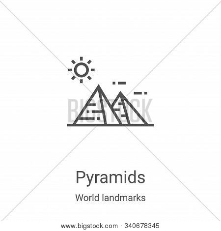 pyramids icon isolated on white background from world landmarks collection. pyramids icon trendy and