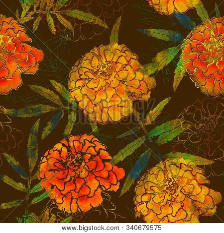 Seamless Pattern With Leaves Of Tagetes. Mix-media Design. Digital Painting And Watercolor Textures.