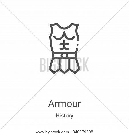 armour icon isolated on white background from history collection. armour icon trendy and modern armo