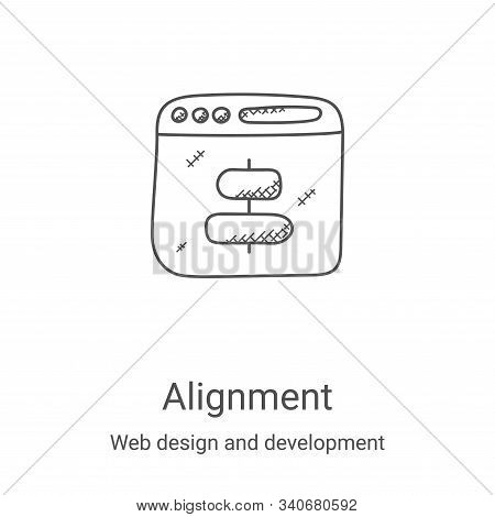 alignment icon isolated on white background from web design and development collection. alignment ic
