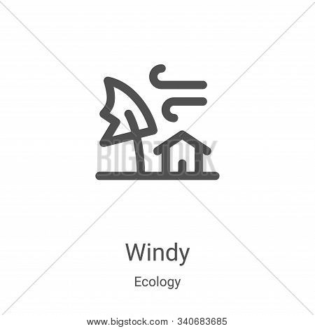 windy icon isolated on white background from ecology collection. windy icon trendy and modern windy