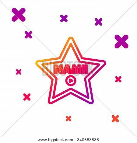 Color Line Hollywood Walk Of Fame Star On Celebrity Boulevard Icon Isolated On White Background. Hol