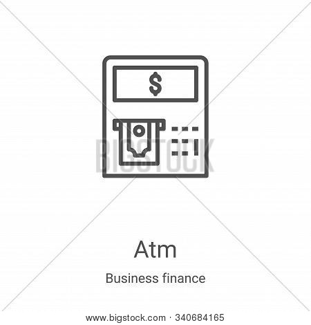 atm icon isolated on white background from business finance collection. atm icon trendy and modern a