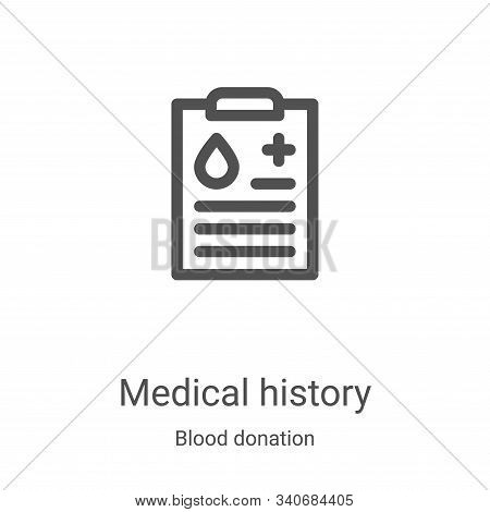 medical history icon isolated on white background from blood donation collection. medical history ic