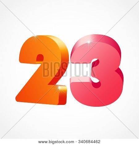 23 Rd Anniversary Numbers. 23 Years Old Coloured Logotype. Age Congrats, Congratulation Idea. Isolat