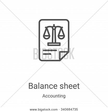 balance sheet icon isolated on white background from accounting collection. balance sheet icon trend