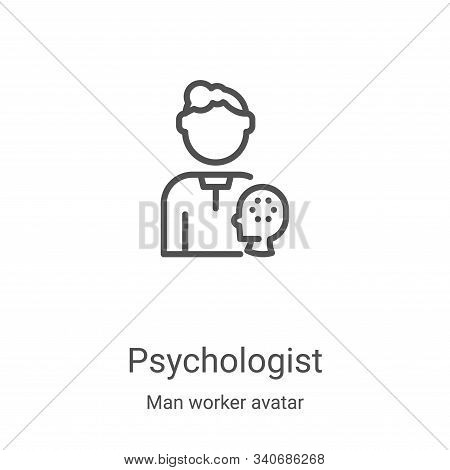 psychologist icon isolated on white background from man worker avatar collection. psychologist icon