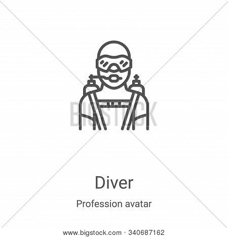 diver icon isolated on white background from profession avatar collection. diver icon trendy and mod