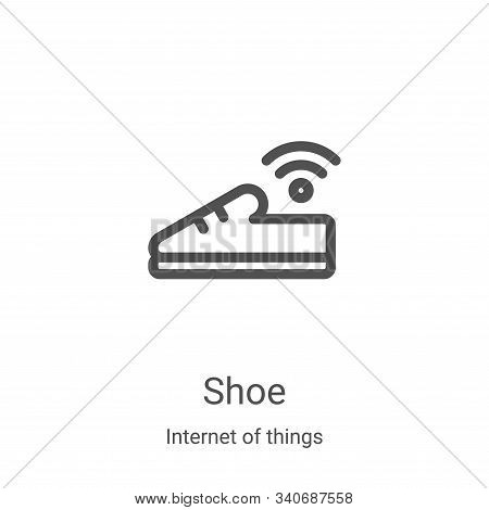 shoe icon isolated on white background from internet of things collection. shoe icon trendy and mode