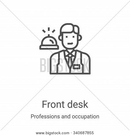 front desk icon isolated on white background from professions and occupation collection. front desk