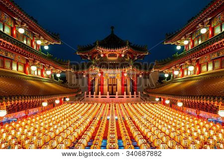 Chinese New Year, Traditional Chinese Lanterns Display In Temple Illuminated For Chinese New Year Fe