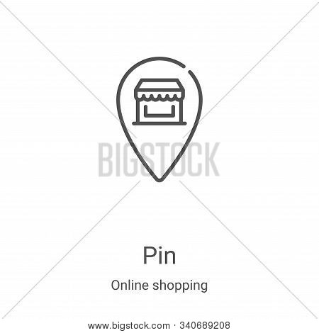 pin icon isolated on white background from online shopping collection. pin icon trendy and modern pi