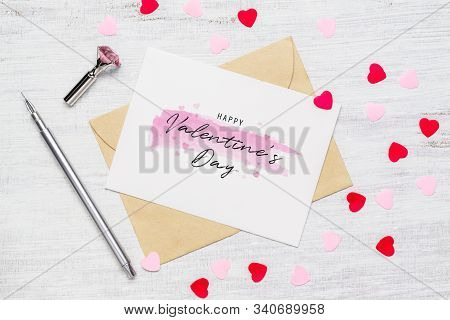 Mockup Postcard And Envelope On Wood Background For Happy Valentines Day. Flat Lay Top View Valentin