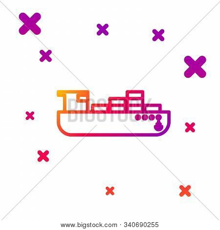 Color Line Cargo Ship With Boxes Delivery Service Icon Isolated On White Background. Delivery, Trans