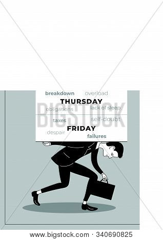 Burnout Overworked Employee Or Businessman Carrying The Backbreaking Load Of Problems Poster