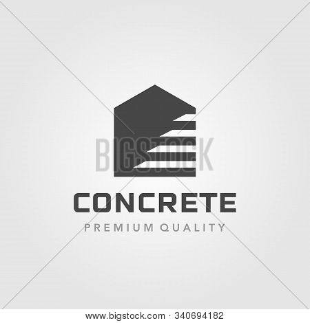 Concrete Step Up Stair Home Building Logo Vector Illustration