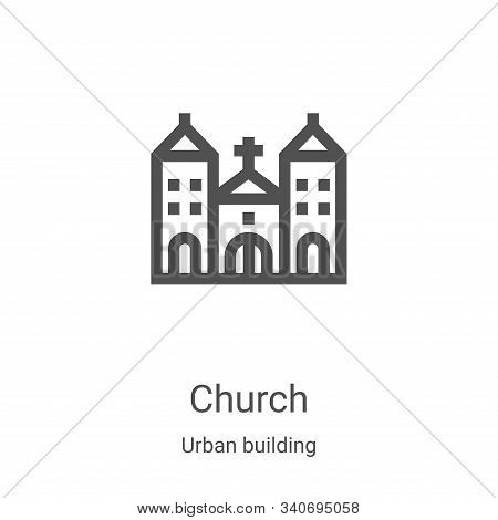church icon isolated on white background from urban building collection. church icon trendy and mode