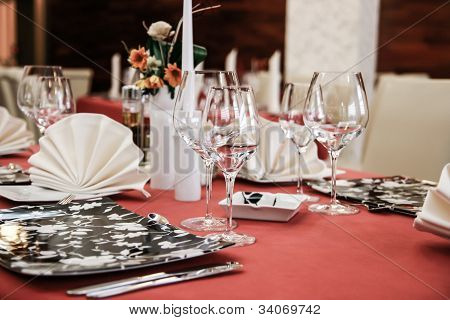 Modern restaurant dinner table