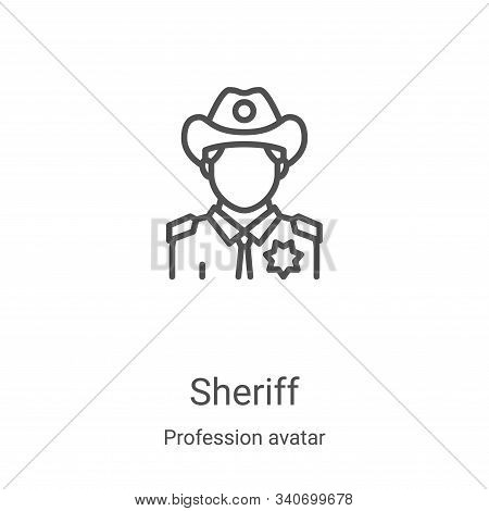 sheriff icon isolated on white background from profession avatar collection. sheriff icon trendy and