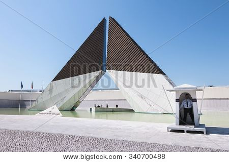 Lisbon, Portugal - May 7, 2018: Architectural Detail Of The Monument To The Glory Of Overseas Fighte