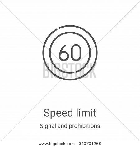 speed limit icon isolated on white background from signal and prohibitions collection. speed limit i