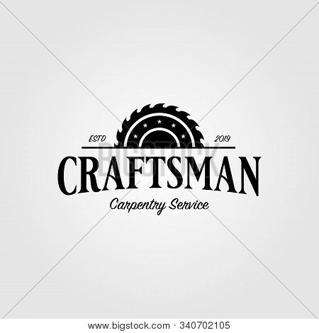Grinding Craftsman Carpentry Vintage Retro Logo Design Illustration