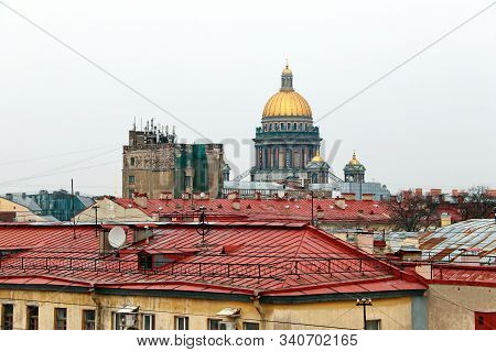 Panorama Of The Red Roofs Of St. Petersburg And St. Isaacs Cath