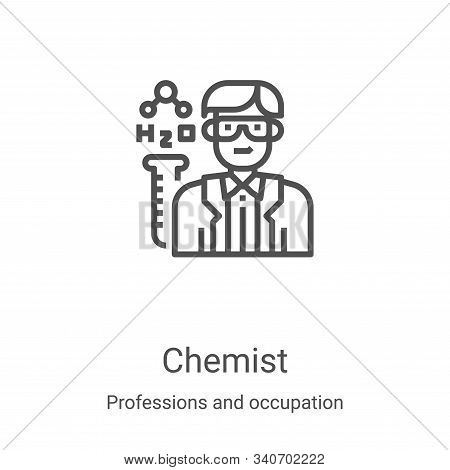 chemist icon isolated on white background from professions and occupation collection. chemist icon t