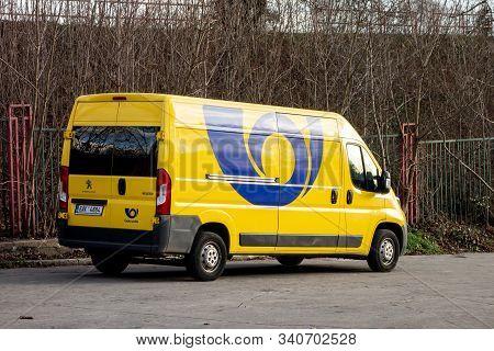 Ostrava, Czech Republic - December 20, 2019: Yellow Peugeot Boxer Van Of Ceska Posta (czech Post Off