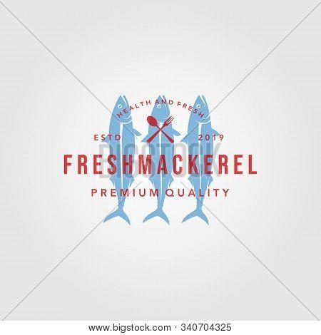 Mackerel Fish Logo Overlapping Vintage Label Packaging Vector Seafood Illustration