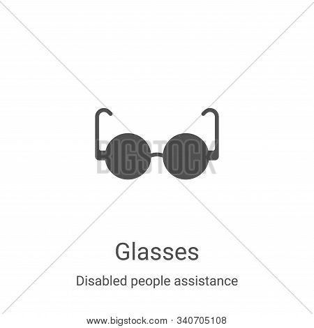 glasses icon isolated on white background from disabled people assistance collection. glasses icon t
