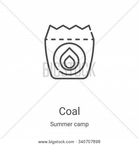 coal icon isolated on white background from summer camp collection. coal icon trendy and modern coal
