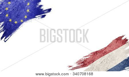 Flags Of Europe Union Andnederland On White Background