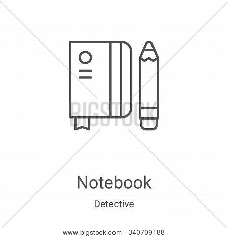 notebook icon isolated on white background from detective collection. notebook icon trendy and moder