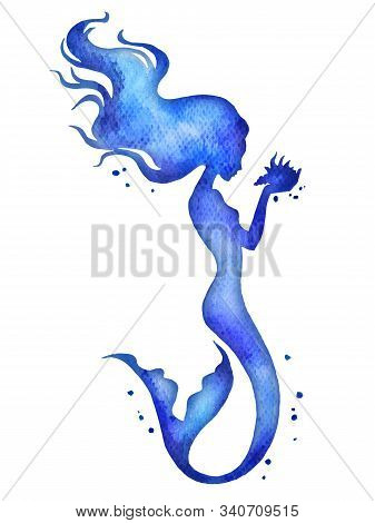 Mermaid Hand Painted Watercolor Vector Silhouette Illustration