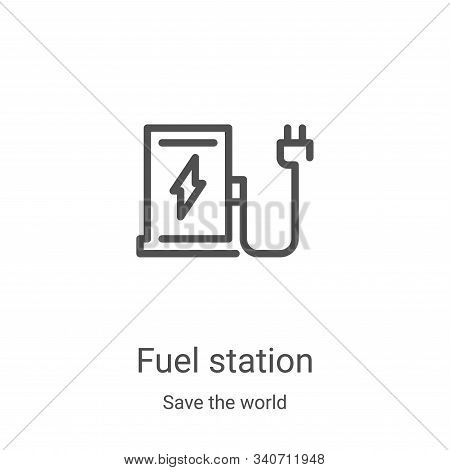 fuel station icon isolated on white background from save the world collection. fuel station icon tre